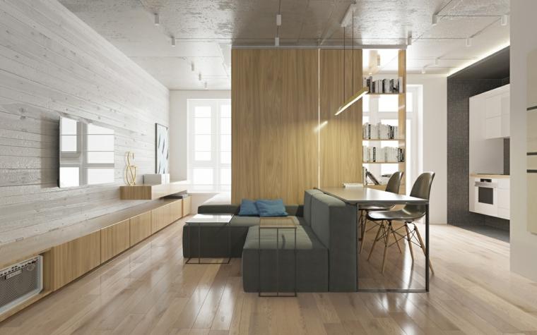 cucina con soggiorno open space pavimento in legno parquet divano grigio angolare