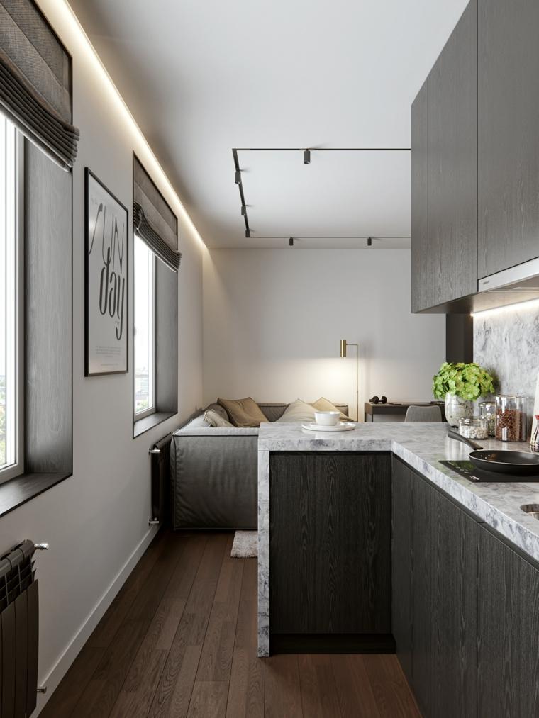 cucina con top in marmo open space 40 mq rettangolare soggiorno con divano grigio