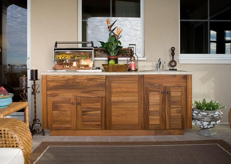 cucina da esterno legno stile elegante