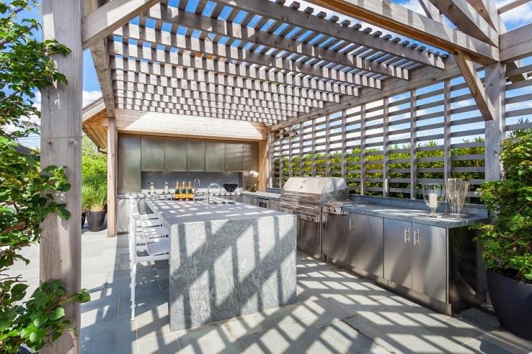cucine da esterno idea design moderno pergolato legno