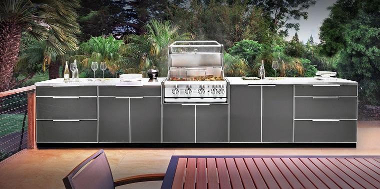 cucine da esterno soluzione ante colore grigio