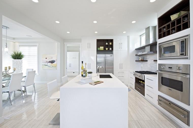 Cucine moderne bianche: la magia del colore che illumina lo spazio ...