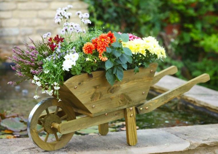 decorazioni fai da te carrello legno fiori