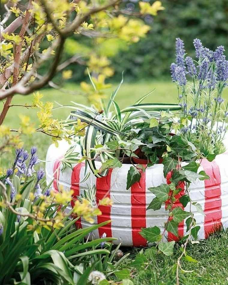 decorazioni giardino fai da te gomma colorata vaso