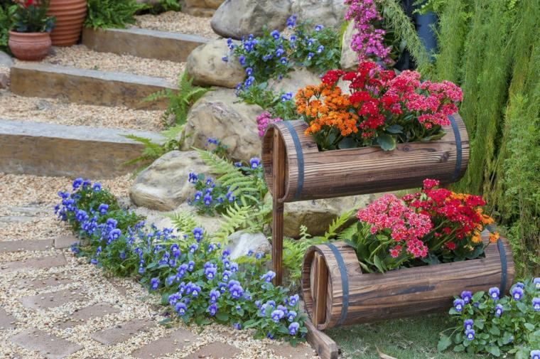 decorazioni giardino idea fai da te fiori