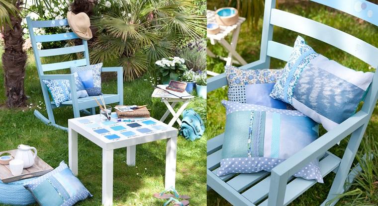 decorazioni giardino set legno colore azzurro