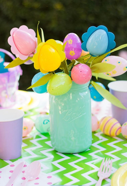 decorazioni pasqua barattolo azzurro uova finte