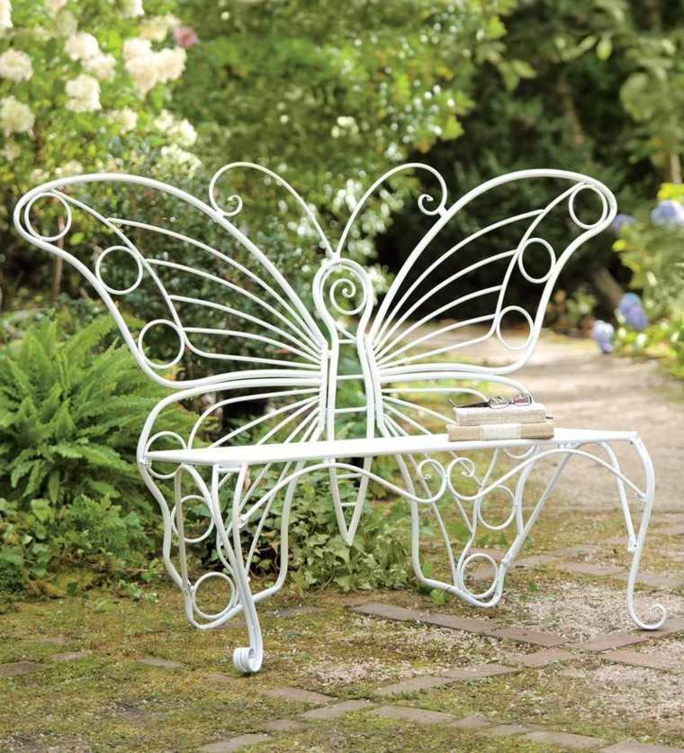 decorazioni per giardino panchina ferro battuto colore bianco