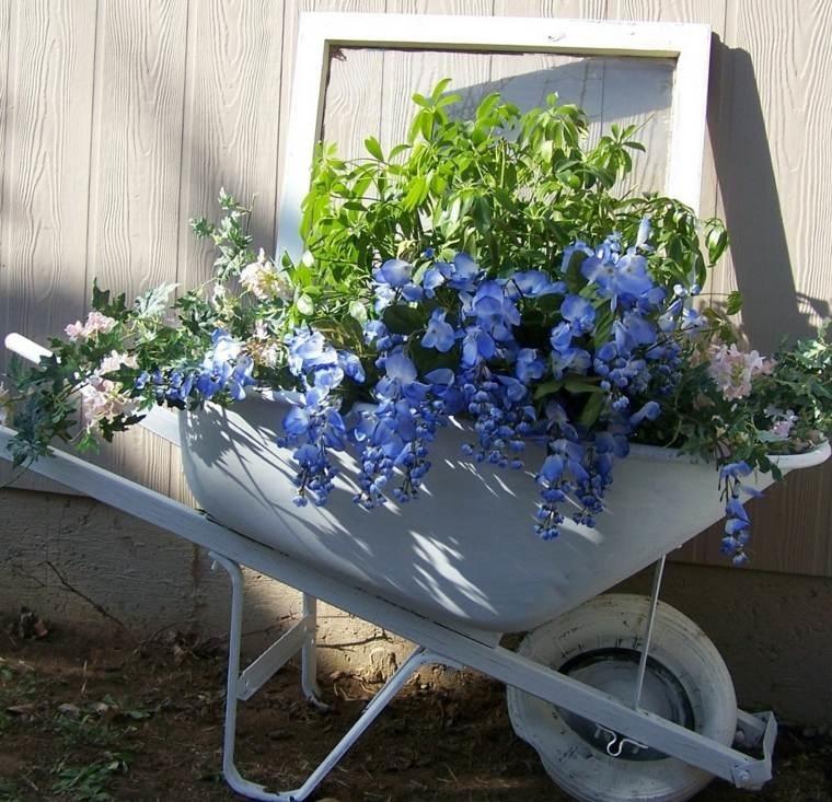 decorazioni shabby chic giardino cariola porta fiori