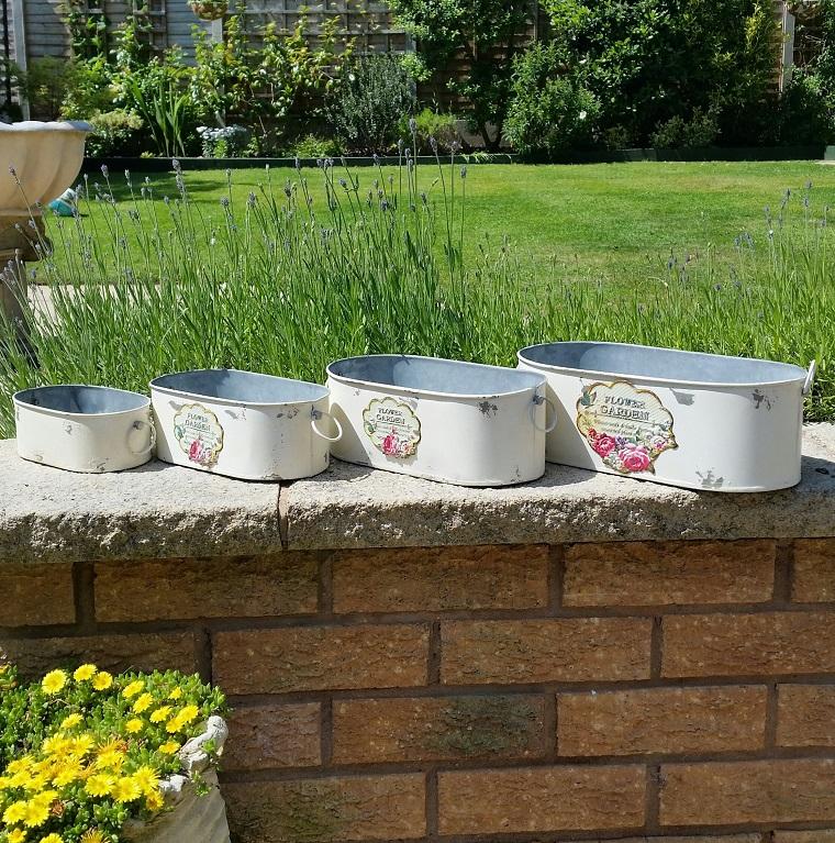 decorazioni shabby chic giardino set vasi alluminio