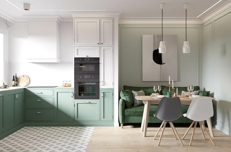 Soggiorni moderni componibili, divano di colore verde in tessuto, set sala da pranzo con tavolo di legno