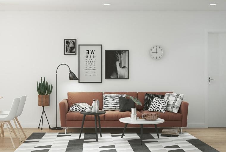 Come arredare sala e salotto insieme, divano di colore marrone, due tavolini bassi di colore nero e bianco