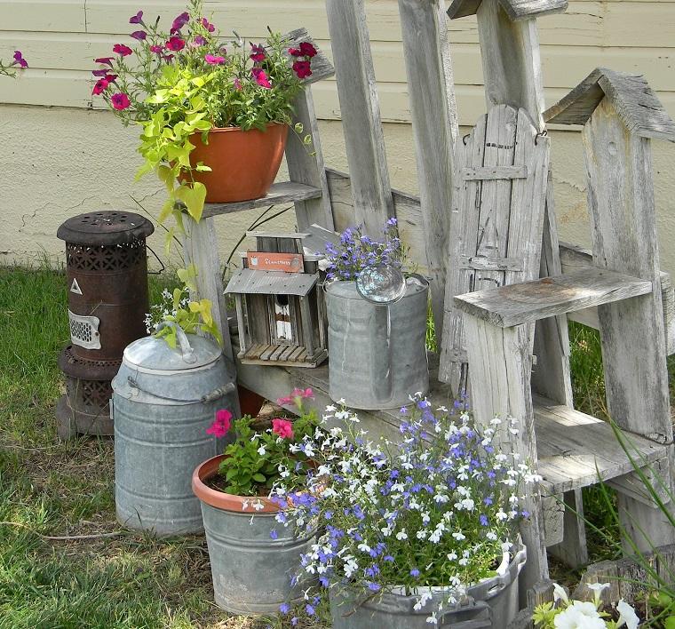 giardino shabby chic vasi lanterne