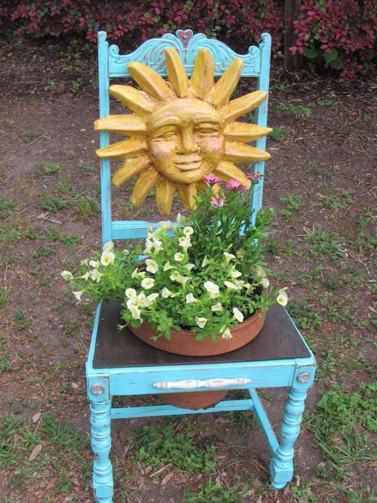 idea creativa sedia legno recuperata utilizzata decorazione