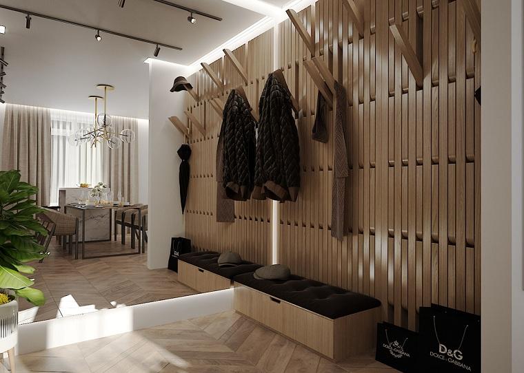 idee appendiabiti ingresso panchina con cuscini da corridoio illuminazione con faretti