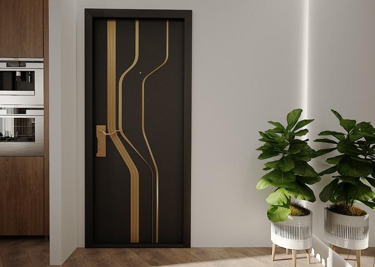 idee appendiabiti ingresso parete corridoio dipinta di bianco decorazione con due vasi di piante