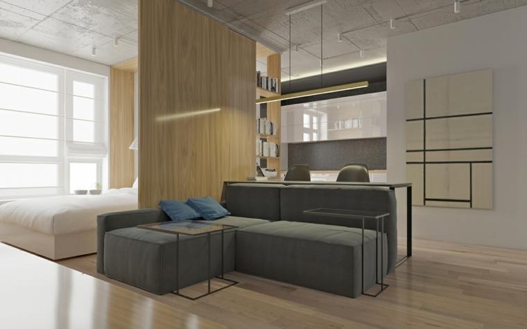 idee arredamento monolocale divano angolare grigio open space camera da letto