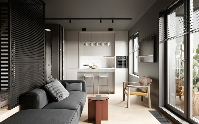idee arredamento monolocale open space soggiorno e cucina illuminazione con faretti