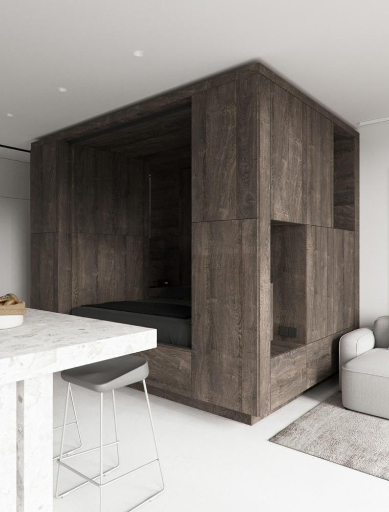 idee arredamento monolocale open space soggiorno zona letto pavimento in legno bianco