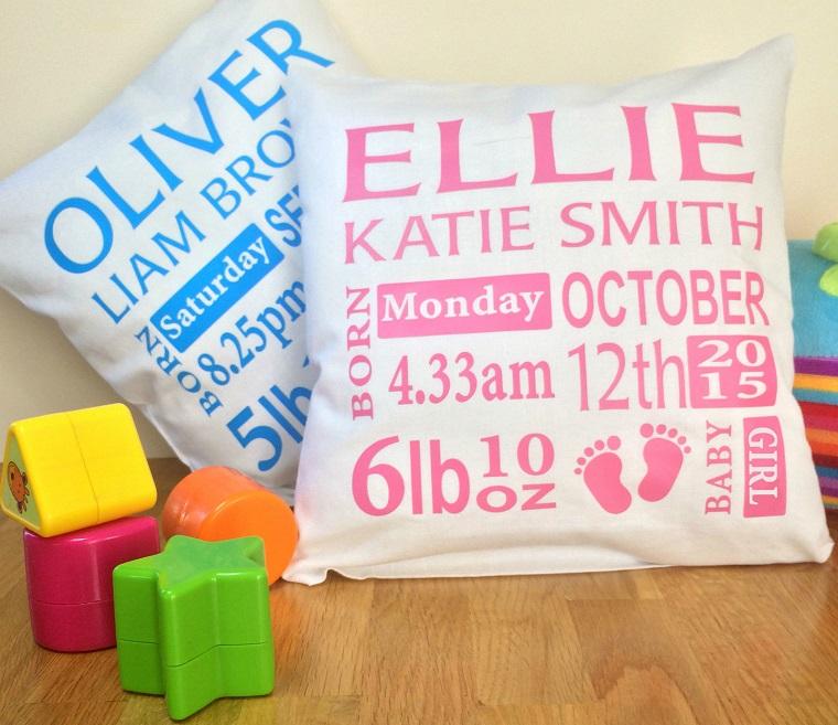 idee regalo nascita bimba bimbo cuscini personalizzati