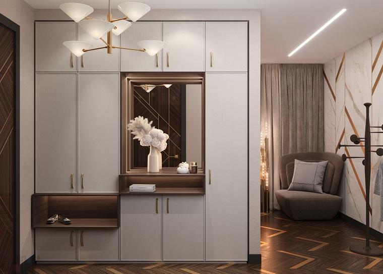 ingresso moderno corridorio con armadio a muro specchio con vaso di fiori pavimento in piastrelle
