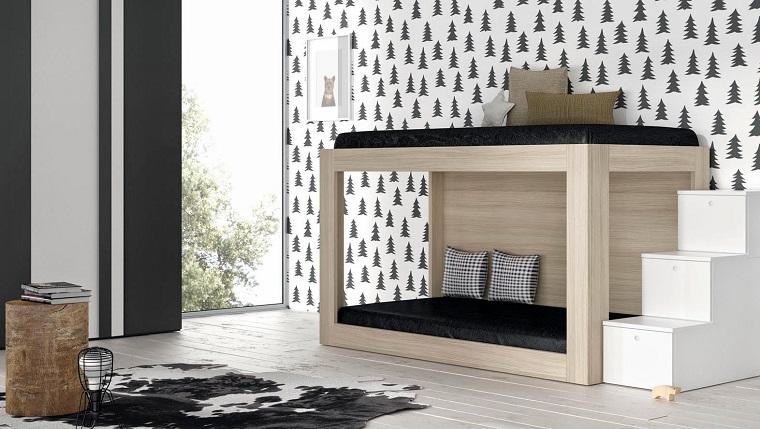 letto legno struttura castello scalini bianchi