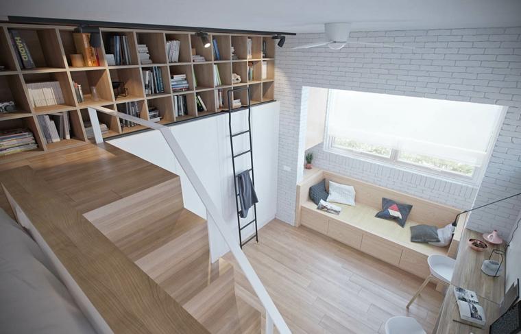 letto sul soppalco con scale come arredare mini appartamento libreria con mensole