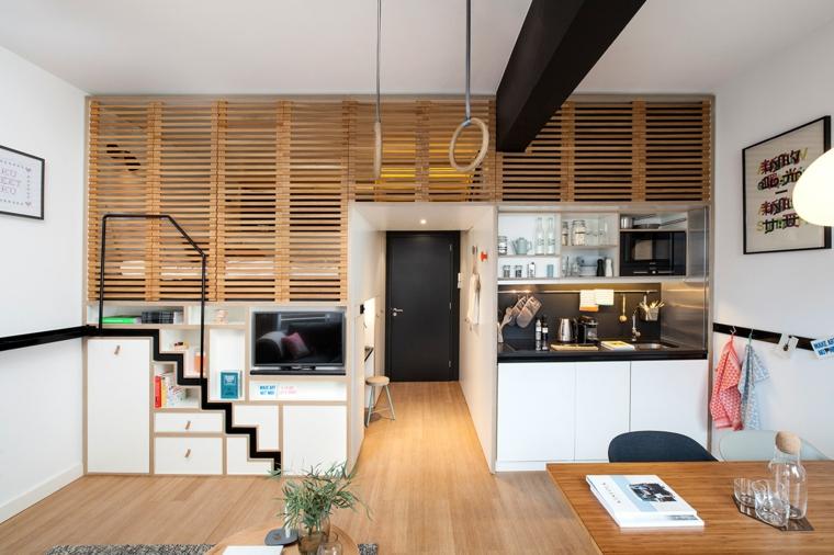 loft appartamento con soppalco cucina con tavolo da pranzo casa con scale interne