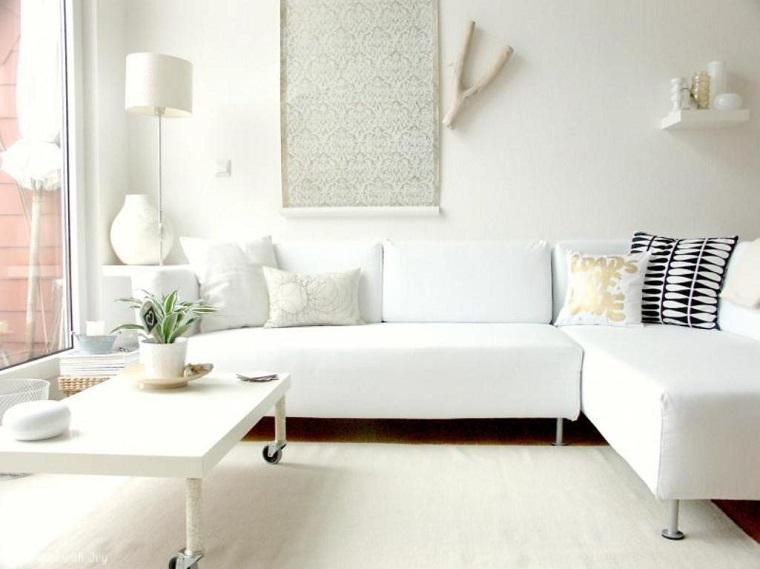 mobili bianchi soggiorno decorazioni parete
