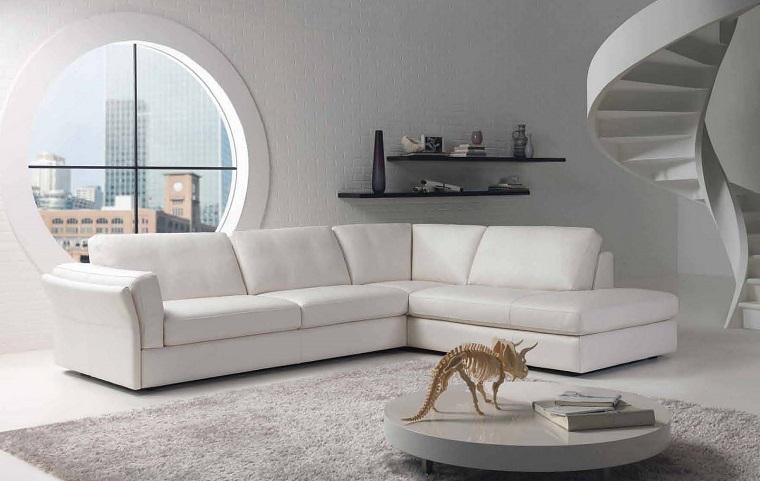 mobili bianchi soggiorno divano angolare scala particolare