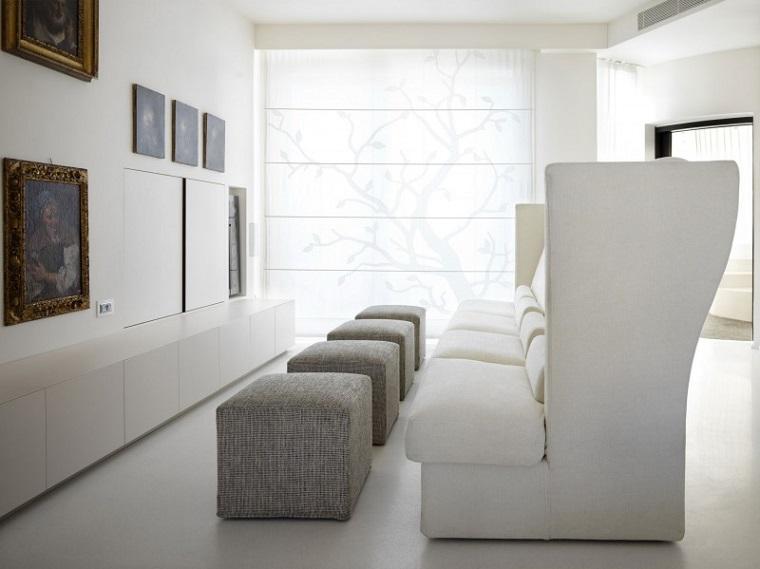 mobili bianchi soggiorno divano design particolare