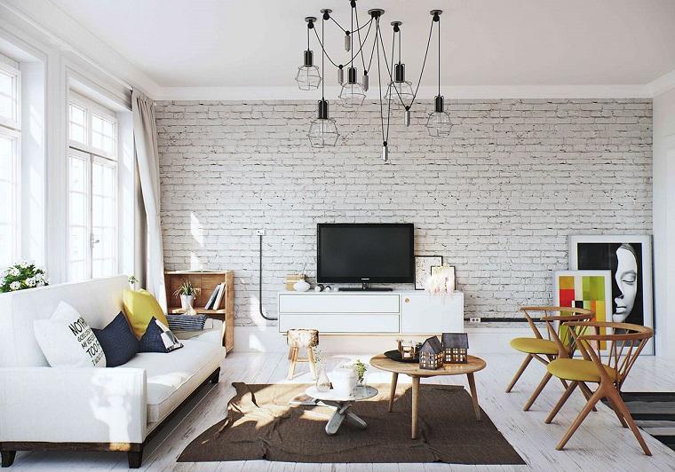 mobili bianchi soggiorno parete stile rustico