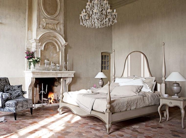 mobili classici camera letto camino