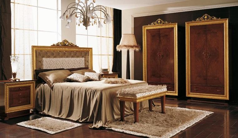 mobili classici camera letto dettagli oro