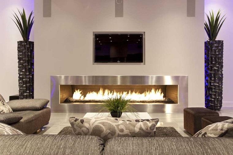 mobili soggiorno moderni camino avanguardia