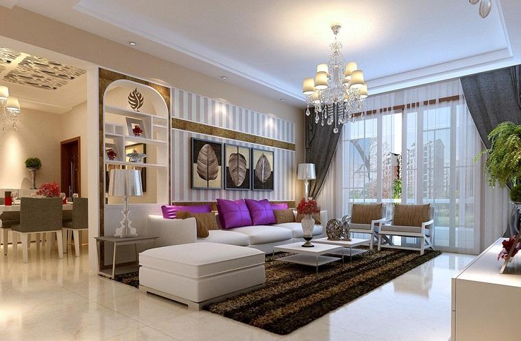 mobili soggiorno moderni divano bianco tappeto righe marroni