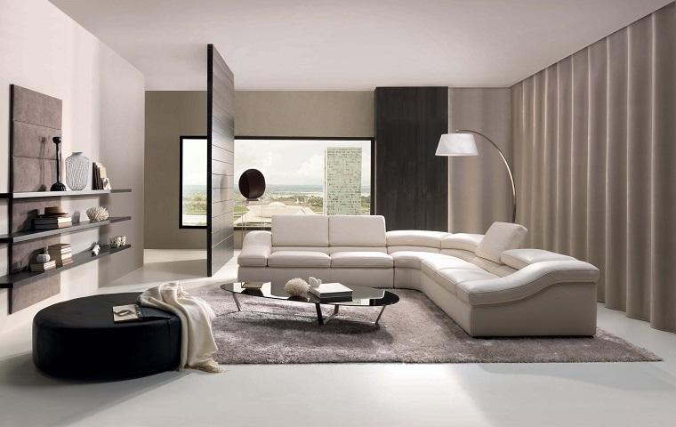 mobili soggiorno moderni divano ecopelle bianco