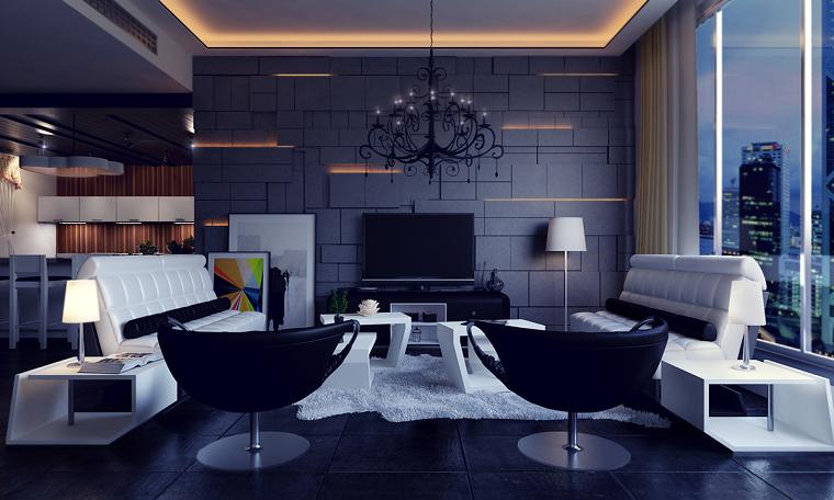 mobili soggiorno moderni parete muratura