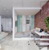 monolocale con parete in pietra soggiorno con divano illuminazione con faretti