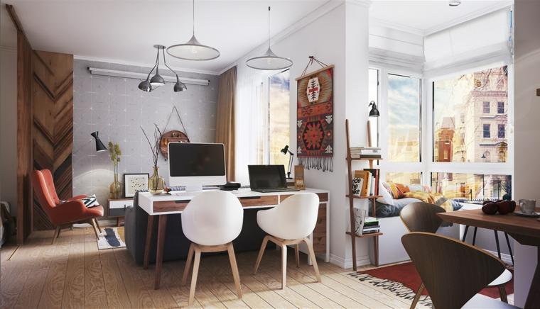 monolocale open space scrivania con due sedie pavimento in legno tappeto