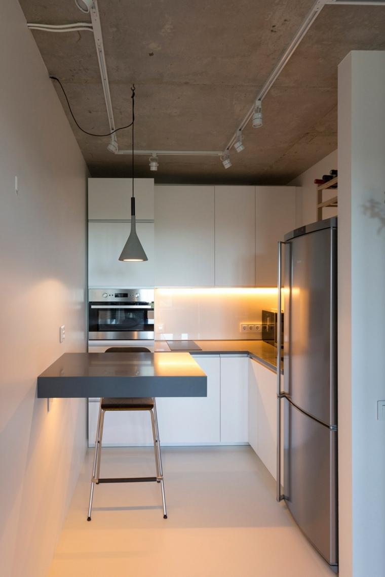 open space 40 mq rettangolare cucina ad angolo con isola tavolo da pranzo sospeso