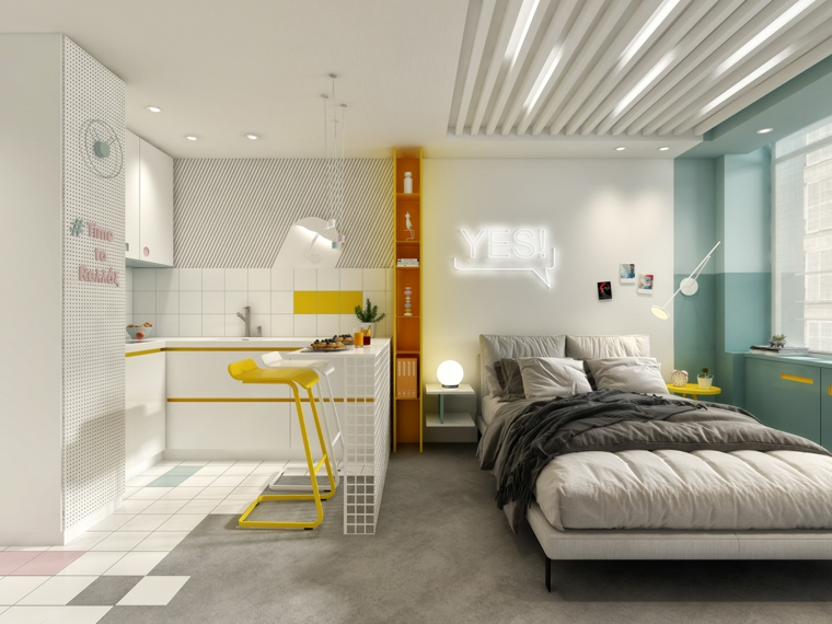 open space 40 mq rettangolare cucina ad angolo tavolo da pranzo con isola e sgabelli