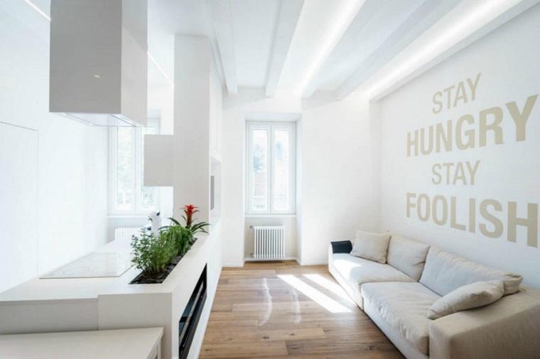 open space arredato mobili design moderno colore bianco