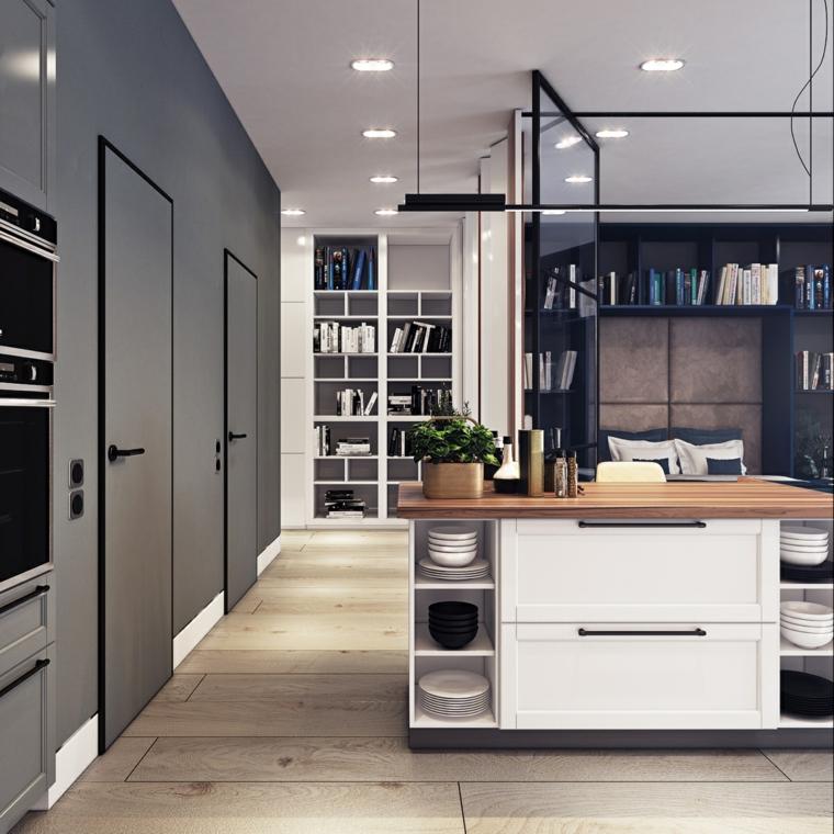 open space cucina con isola centrale come arredare un monolocale ambiente con pavimetno in legno