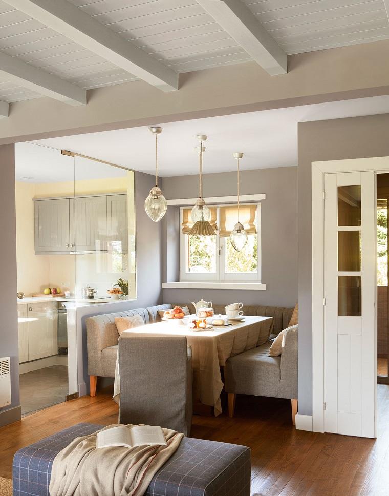 open space cucina separata parete vetro