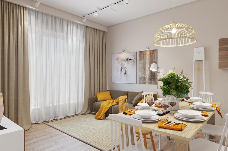 Soggiorno con accenti i giallo, saloni moderni, open space con soggiorno e sala da pranzo