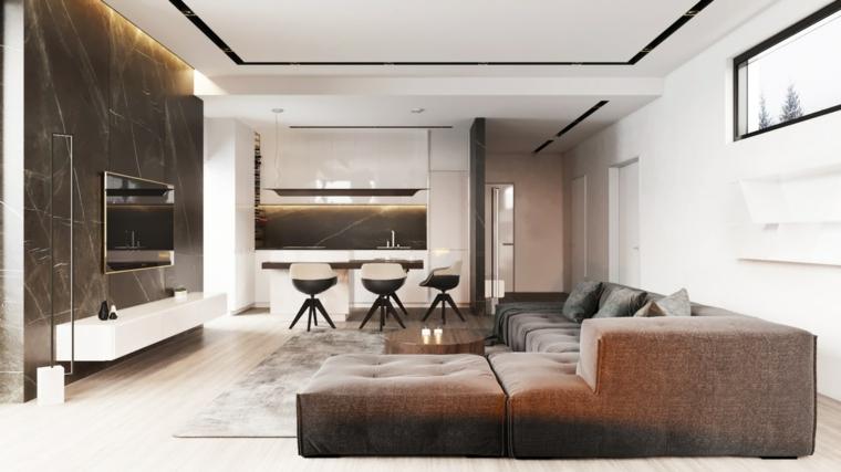 Saloni moderni, divano angolare di tessuto, cucina con isola centrale, mobile basso per la tv
