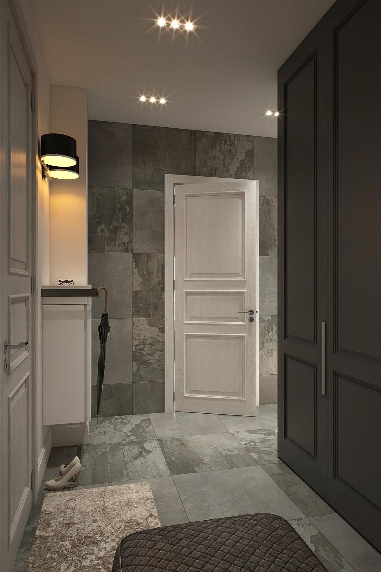 pannello appendiabiti da parete armadio di legno a muro pavimento con piastrelle grigie