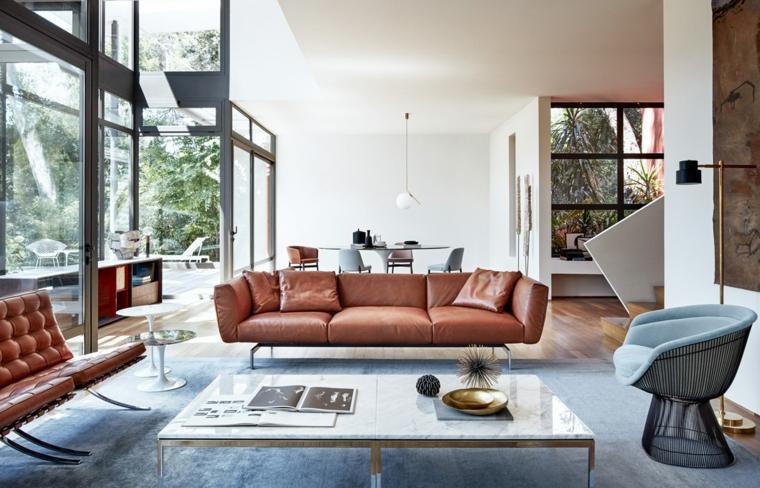 Saloni moderni, soggiorno con divano in pelle, open space con set tavolo da pranzo