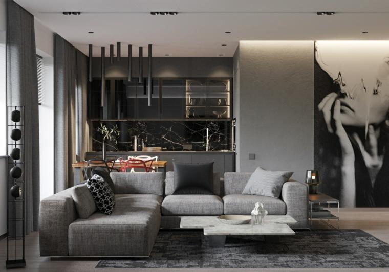 Soggiorni moderni componibili, open space con cucina e soggiorno, salotto con divano grigio angolare